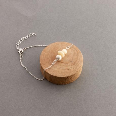 Bracelets en tagua, ivoire végétal - Bracelet tagua et argent Elisa - kokobelli