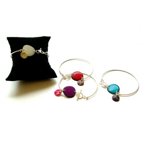Bracelets en tagua, ivoire végétal - Bracelet Pixa en tagua et argent  - kokobelli