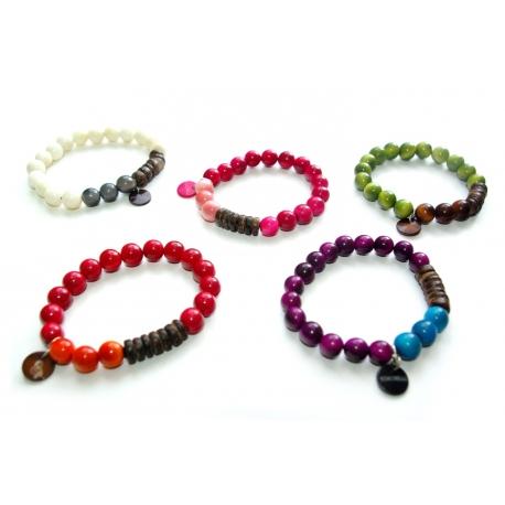 Bracelets en tagua, ivoire végétal - Bracelet PERLINA - kokobelli