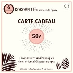 Carte cadeau 50€ en tagua, ivoire végétal par Kokobelli