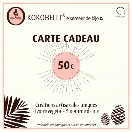 Cartes cadeaux en tagua, ivoire végétal - Carte cadeau 50€ - kokobelli