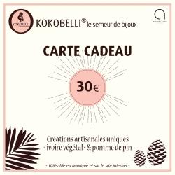 Carte cadeau 30€ en tagua, ivoire végétal par Kokobelli