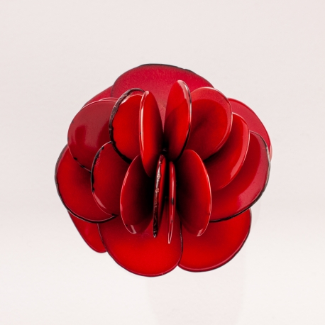 Roses & Fleurs en tagua, ivoire végétal - Broche Rose rouge - kokobelli