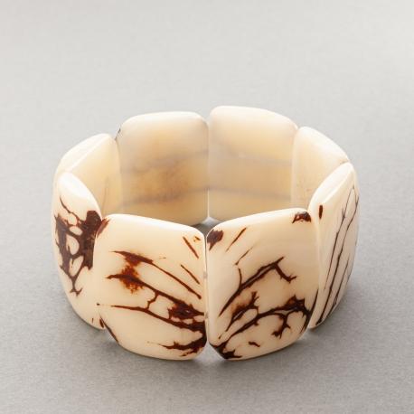 Bracelets en tagua, ivoire végétal - Bracelet Mosca blanc - kokobelli