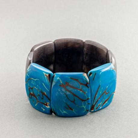 Bracelets en tagua, ivoire végétal - Bracelet Mosca bicolore - kokobelli