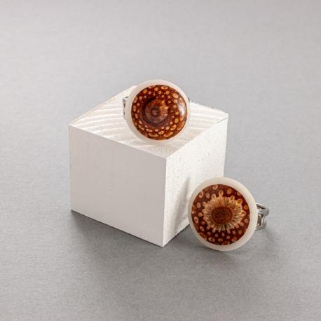 Collection POMME DE PIN en tagua, ivoire végétal - Bague Fibonacci petite - kokobelli