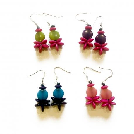 Bracelets, accessoires en tagua, ivoire végétal - Boucles d'oreilles Stellina - kokobelli