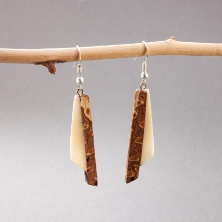 Collection POMME DE PIN en tagua, ivoire végétal - Boucles d'oreille Duo - kokobelli