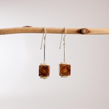 Collection POMME DE PIN en tagua, ivoire végétal - Boucles d'oreille Cubik - kokobelli