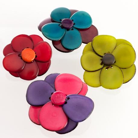Roses & Fleurs en tagua, ivoire végétal - Broche Florina - kokobelli