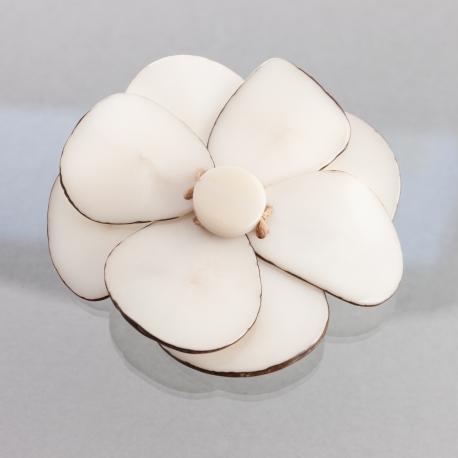 Roses & Fleurs en tagua, ivoire végétal - Broche Florina blanche - kokobelli
