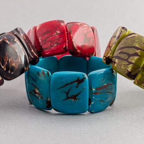 Bracelets en tagua, ivoire végétal - Bracelet Mosca marbré - kokobelli