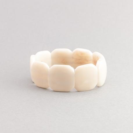 Bracelets en tagua, ivoire végétal - Bracelet Missa blanc PETIT - kokobelli