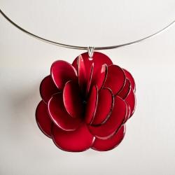 Collier Rose pendentif (couleurs)