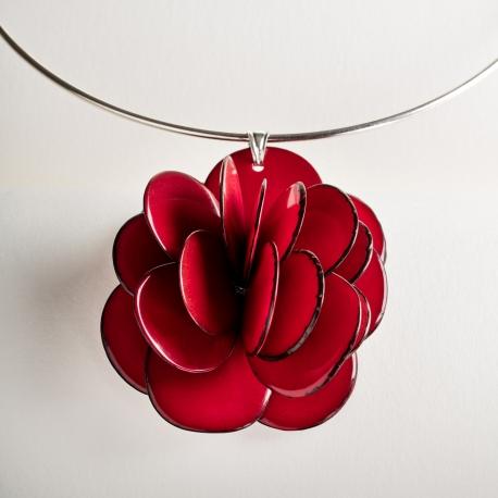 Roses & Fleurs en tagua, ivoire végétal - Collier Rose pendentif (couleurs) - kokobelli