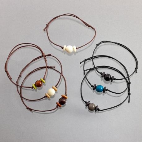 Bracelets, accessoires en tagua, ivoire végétal - Bracelet Idea Enfant (perle ronde) - kokobelli